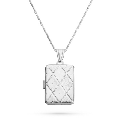 Sterling Silver Italian-Designed Quilted Locket with complimentary Filigree Keepsake Box - Sterling Silver Necklaces