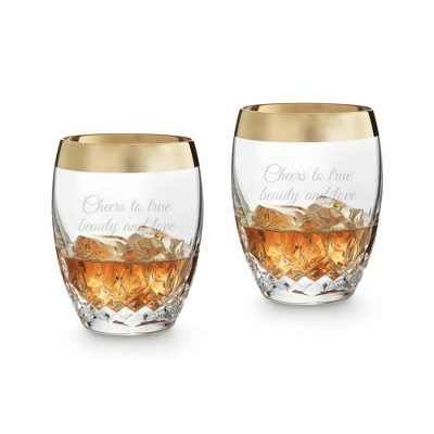 Waterford Lismore Essence Gold Band Old Fashioned Pair