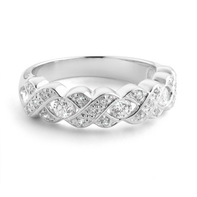 Platinum over Sterling Today, Tomorrow, Forever Size 7 Ring with complimentary Filigree Keepsake Box - $54.99
