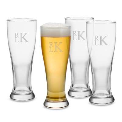 16 oz Pilsner Set of 4 Glasses with Monogram - Barware & Accessories