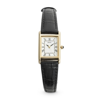 Ladies Seiko Black Leather Strap Watch - 1st Anniversary Gifts