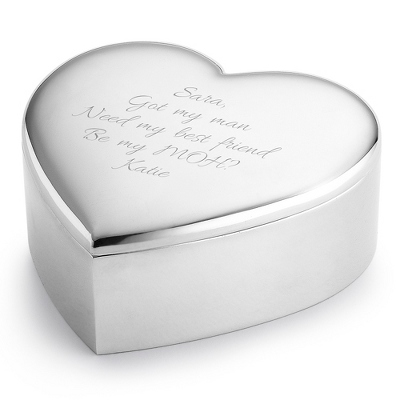 Personalized Polished Heart Keepsake Box