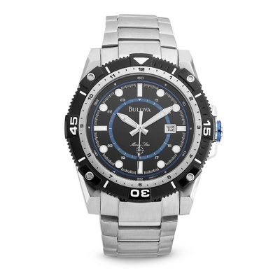 Men's Bulova Marine Star Watch with Blue Accents 98B178 with complimentary Black Lacquer Wrist Watch Box - $325.00