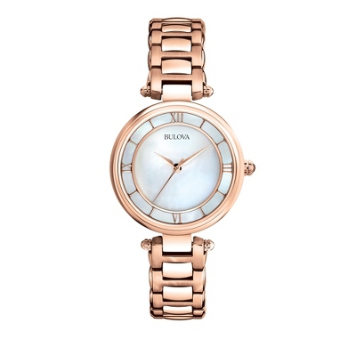 Ladies Bulova Rose Gold Mother of Pearl Watch 97L124 - $350.00