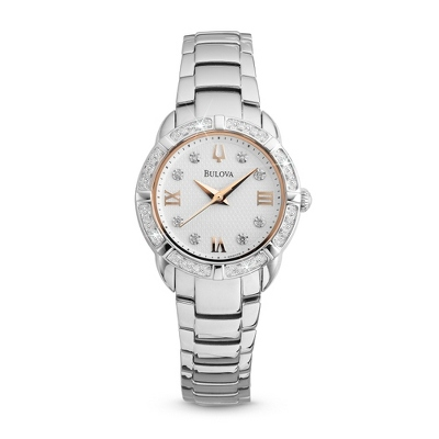 Ladies Bulova Two Tone Rose Gold Watch 96R176 - $425.00