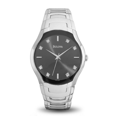 Ladies Bulova Black Dial Watch 96P146