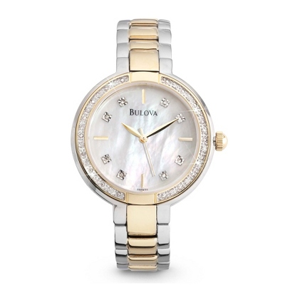 Ladies Bulova Two Tone Diamond Accented Watch 98R172