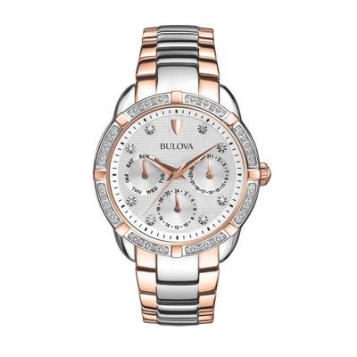 Ladies Bulova Diamond Rose Gold Chronograph Watch - 1st Anniversary Gifts
