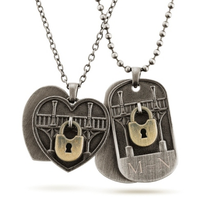 Couple Dog Tag Engraving Necklace