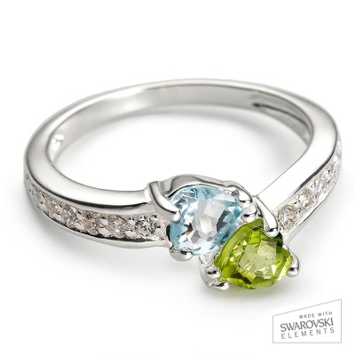 Sterling Silver Love At First Sight Birthstone Ring with complimentary Filigree Keepsake Box - $44.99