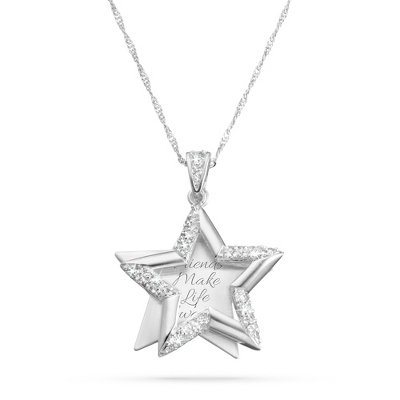Brushed CZ Star Necklace with complimentary Filigree Keepsake Box