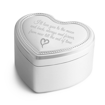 Silver Heart Shaped Jewelry Box