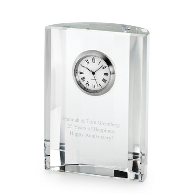 Crystal Semi-Circle Clock - Awards & Plaques