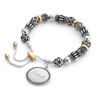 Two Tone Lariat Bracelet with complimentary Filigree Keepsake Box - Fashion Bracelets & Bangles