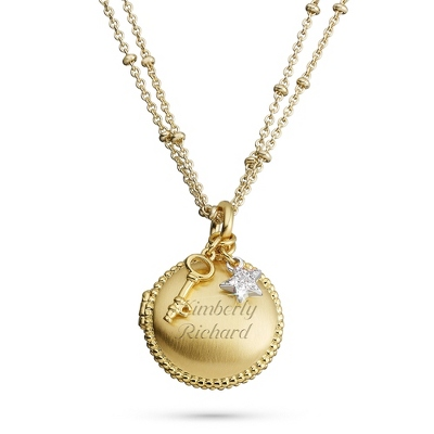 Brushed Gold Locket - Fashion Necklaces