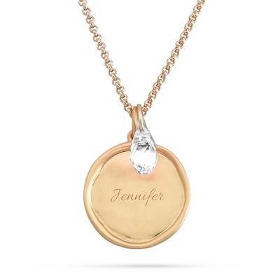 Artisan Gold April Birthstone Necklace with complimentary Filigree Keepsake Box - $29.99