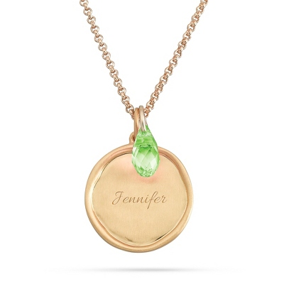 Artisan Gold August Birthstone Necklace with complimentary Filigree Keepsake Box - $29.99
