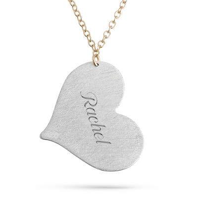 Sterling Silver & 14K Gold Hand Brushed Heart Charm Necklace with complimentary Filigree Keepsake Box