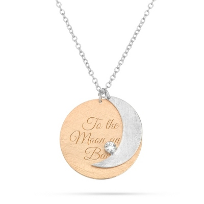 Sterling Silver Hand Brushed Silver Moon Necklace with complimentary Filigree Keepsake Box