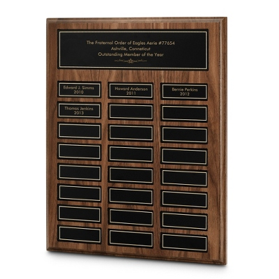 Engraved Walnut Plaque with Multiple Name Plates