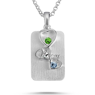 Sterling Silver 3 Birthstone Floating Hearts Necklace with complimentary Filigree Keepsake Box - $55.00