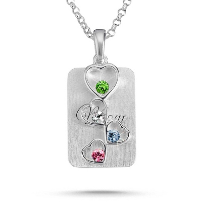 Sterling Silver 4 Birthstone Floating Hearts Necklace with complimentary Filigree Keepsake Box