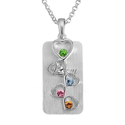 5 Birthstone Heart Necklace