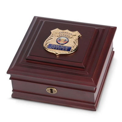 Police Medallion Desktop Box - Memorial & Sympathy