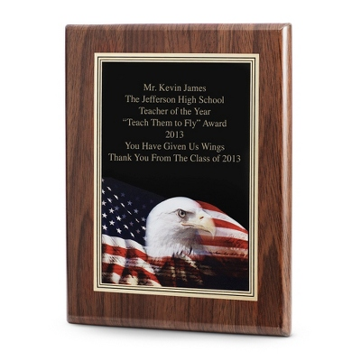 Eagle Achievement Plaque with Walnut Base - Awards & Plaques