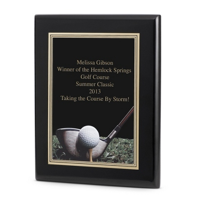 Golf Achievement Plaque with Black Base - Awards & Plaques