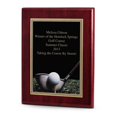 Golf Achievement Plaque with Rosewood Base