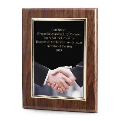 Acknowledgment Achievement Plaque with Walnut Base