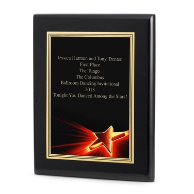 Star Achievement Plaque with Black Base