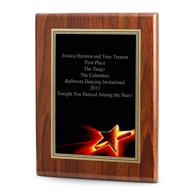 Star Achievement Plaque with Walnut Base