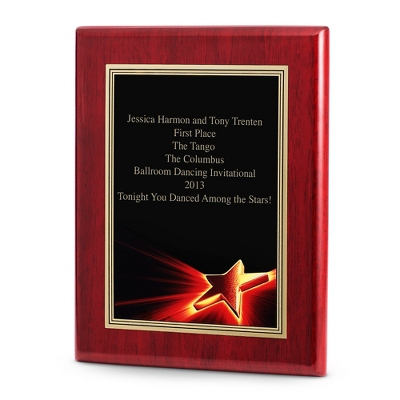 Star Achievement Plaque with Rosewood Base