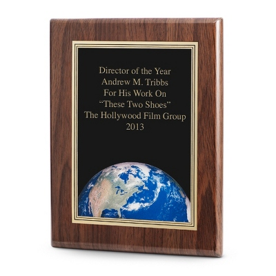 World Achievement Plaque with Walnut Base