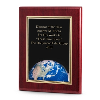 World Achievement Plaque with Rosewood Base