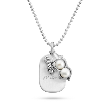 Sterling Silver 2 Peas in a Pod Necklace with complimentary Filigree Keepsake Box - UPC 825008015210