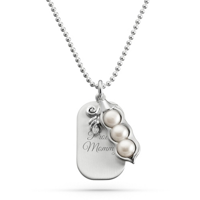Sterling Silver 3 Peas in a Pod Necklace with complimentary Filigree Keepsake Box