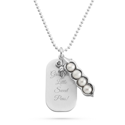 Sterling Silver 4 Peas in a Pod Necklace with complimentary Filigree Keepsake Box - UPC 825008015234