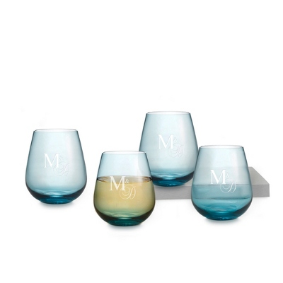 Stemless Wine Glass Personalized Wedding