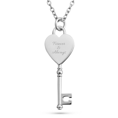 Platinum Dipped Heart and Key Necklace with complimentary Filigree Keepsake Box - UPC 825008015586