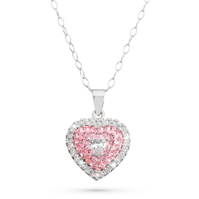 Sterling Silver Girls Pink Sparkle Heart Necklace with complimentary Filigree Heart Box