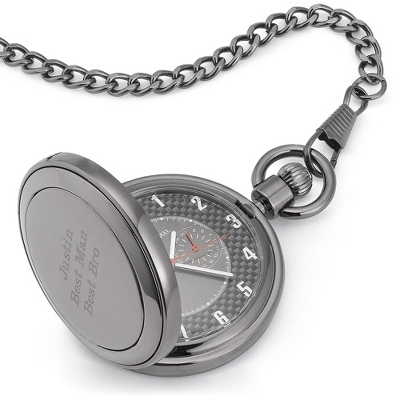 Gunmetal Carbon Fiber Pocket Watch - Wrist Watches & Pocket Watches