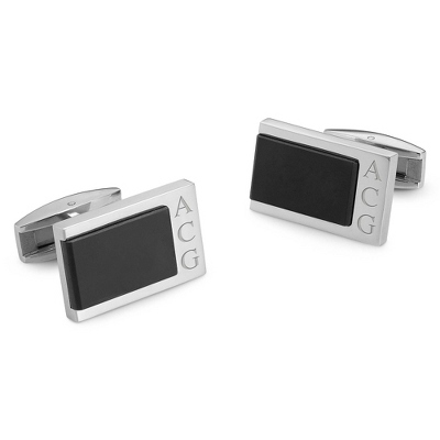 Titanium Accent Cuff Links with complimentary Weave Texture Valet Box
