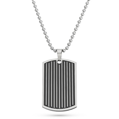 Black Dog Tag Necklace for Men