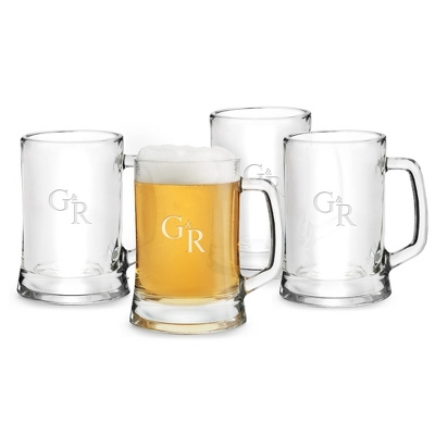Set of 4 German Tankards with Monogram