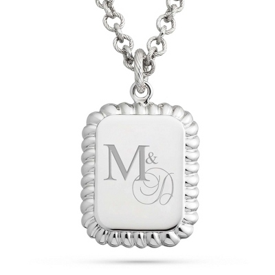 Platinum Dipped Rectangle Necklace with complimentary Filigree Keepsake Box