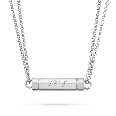 Stainless Steel Hidden Message Magnetic Necklace with complimentary Filigree Keepsake Box - Free Keepsake Boxes