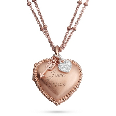 Rose Gold Heart Brushed Locket with complimentary Filigree Keepsake Box - $40.00